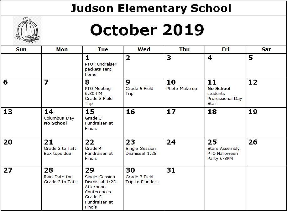 October Calendar for Judson