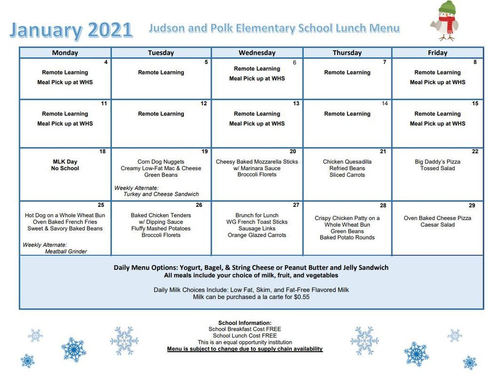 Lunch and Breakfast Menu for January