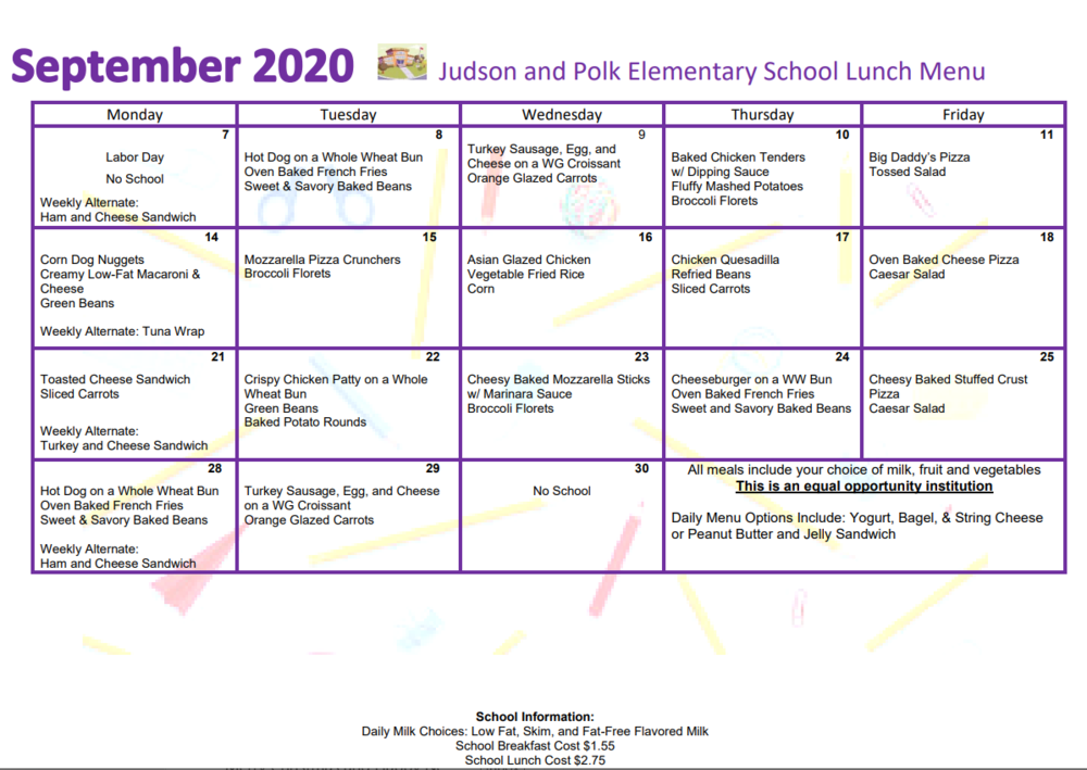 September Lunch Menu!