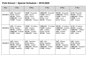 Weekly ABCDE Specials Schedule