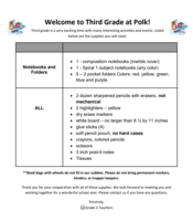 20-21 Grade 3 School Supply List