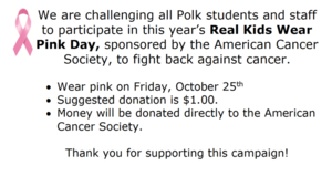 Wear Pink on Friday 10/25!