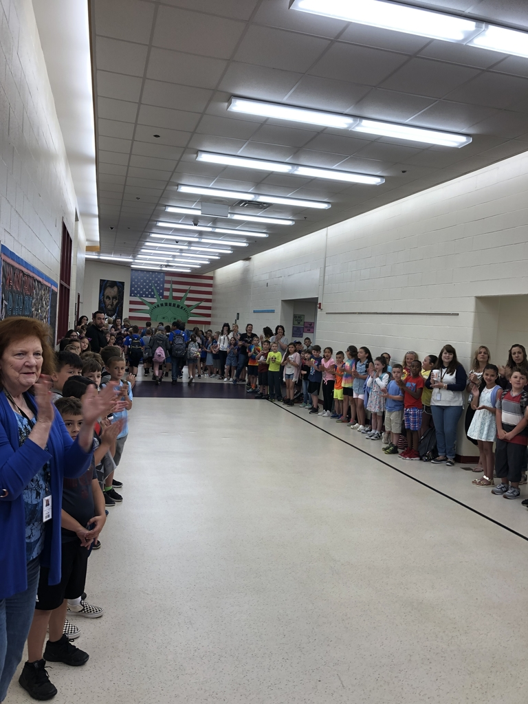 Celebrating our fifth graders through an ovation this morning at Polk.